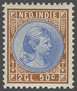 Netherlands Indies - Hangend Haar 2½ gulden oranjebruin en lichtblauw, cat.w. 650    Dealer  Corinphila Veilingen    Auction  Minimum Bid:  200.00EUR