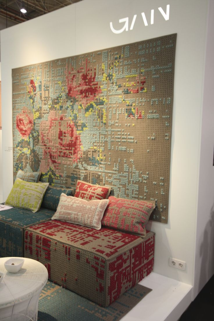 Maison et Objet-- I don't know if i want to something this complicated and over the top but the effect of the large scale cross stitch is beautiful!