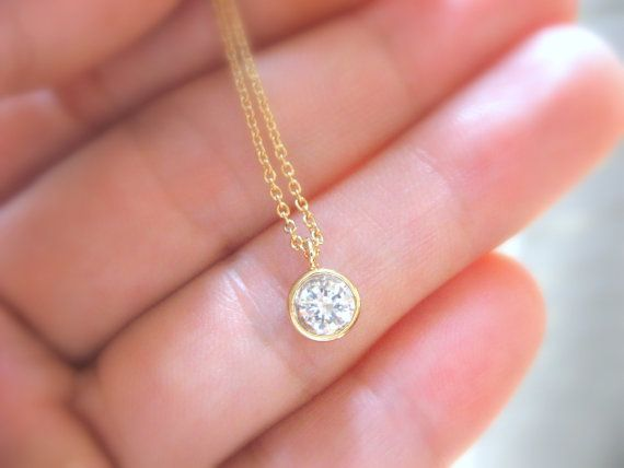 Dainty Gold Necklace Gold Solitaire Necklace Diamond by ShebasGems