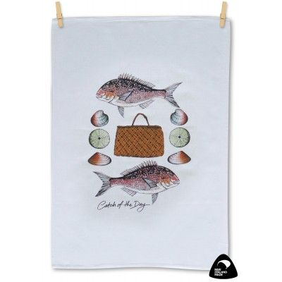 Tea towel Catch of the Day. Being an island nation, New Zealand is rich in a variety of seafood as pictured here around a central Kete or basket. This Catch of the Day tea towel is the perfect tea towel for the fisherman or seafood lover. A quality 100% cotton tea towel genuinely made in New Zealand. Matching apron available.      See more at www.entirelynz.co.nz/gifts