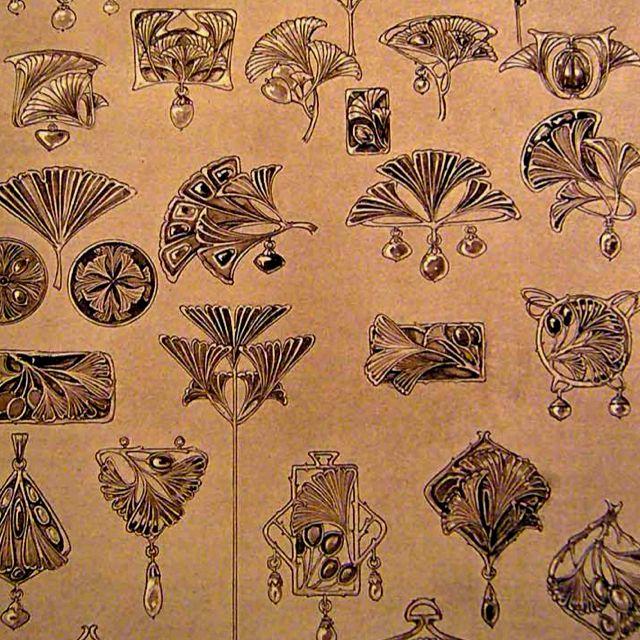 Art Nouveau gingko leaves