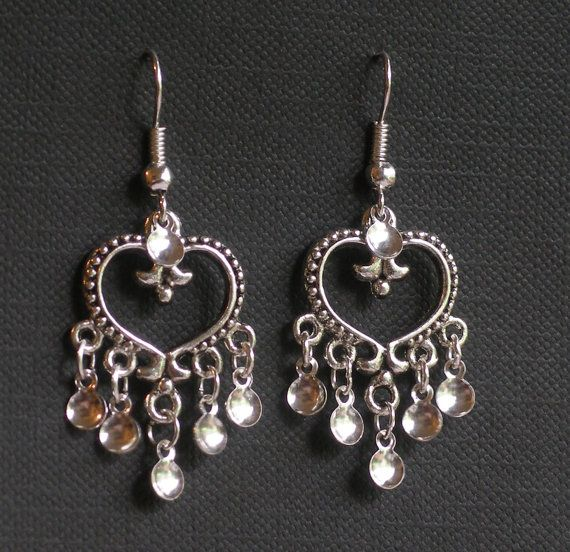 Eydis - Antique Silver Plated Heart Traditional Norwegian Solje Style Earrings