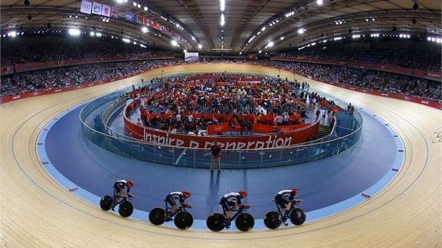 Geraint Thomas, Steven Burke, Edward Clancy and Peter Kennaugh of Great Britain compete in the Men's Team Pursuit Track Cycling first round on Day 6.