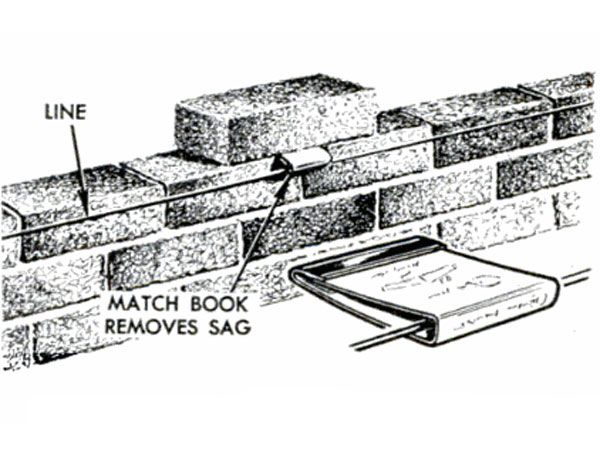 """A matchbook held by a brick takes the sag out of a mason's line."" The matchbook suspends the line, keeping it the right distance from the top course so it doesn't interfere with striking the mortared joint.  — July 1962"