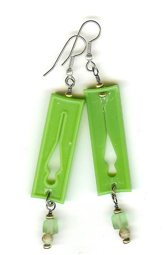 earrings made from IV fluid line parts (Felice's Pieces)