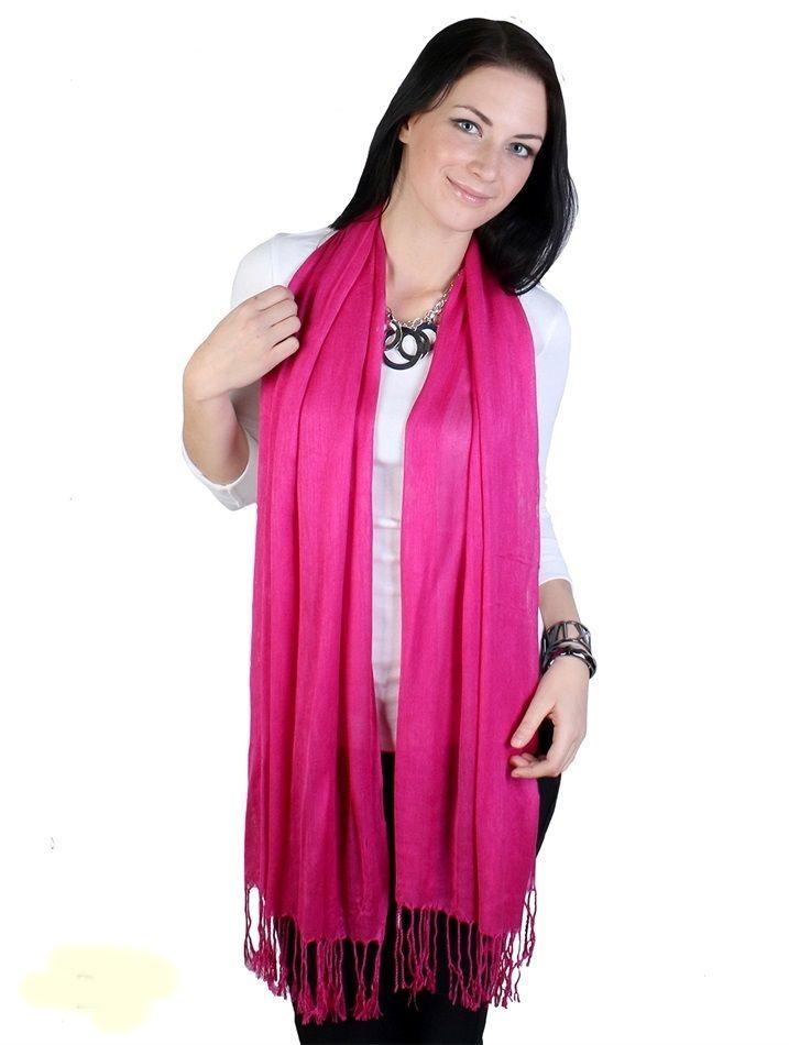 """Fuchsia Pashmina Silk Blend Fashion Scarf Wrap 72"""" X 40"""" NEW NWT #NorthSouthFashions #Pashmina"""