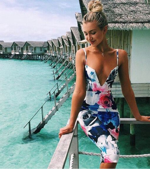 Beach Tropical Vacation Kid Blond Girl With Fashion: Dresses, Fashion, Blue Summer Dresses