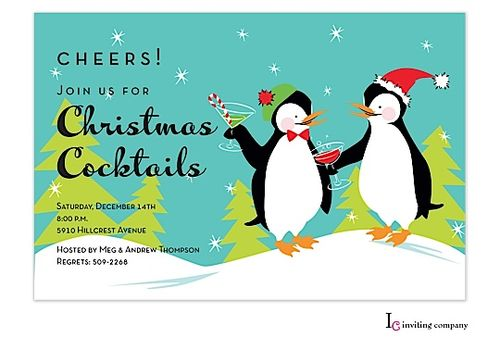 christmas cocktail party invitations.  penguins with cocktails.  A fun unique christmas cocktail party invitation for your perfect christmas party.