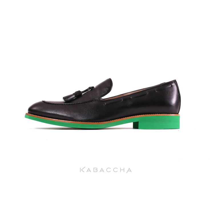 Kabaccha Shoes // Black Nappa Leather & Green Sole Loafer #KabacchaShoes #Loafers