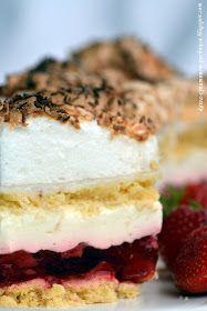 Jedno z bardzo dekoracyjnych ciast, które pomimo kilku warstw pozostaje lekkie i delikatne. Dwa blaty ciasta kruchego, które pom...