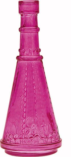 Pink Vintage Colored Glass Bottle, reminds me of a Genie Bottle