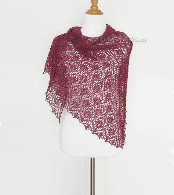 Hand knit shawl bridal lace cover up garnet red wrap alpaca