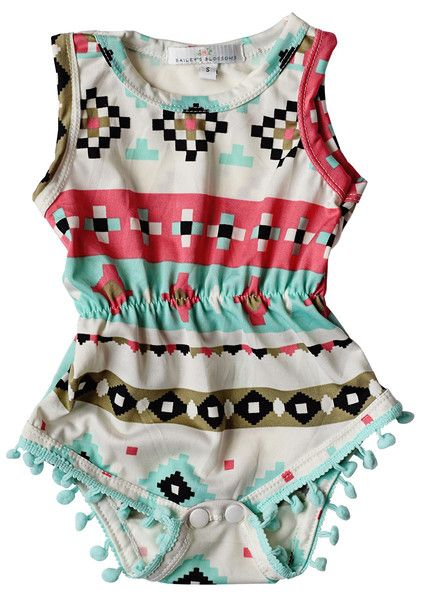Pom Pom Romper - Dream Catcher   Children's and Baby Clothing Boutique   Bailey's Blossoms