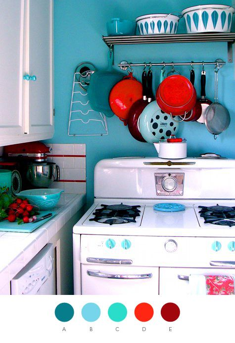 turquoise and red in the kitchen!