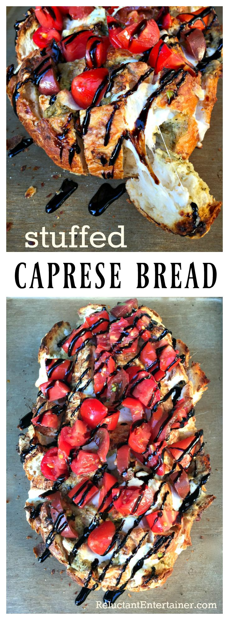 Stuffed Caprese Bread, a fun party food, appetizer, or tailgating appetizer…