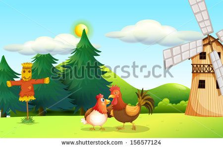 Illustration of a hen and a rooster at the farm