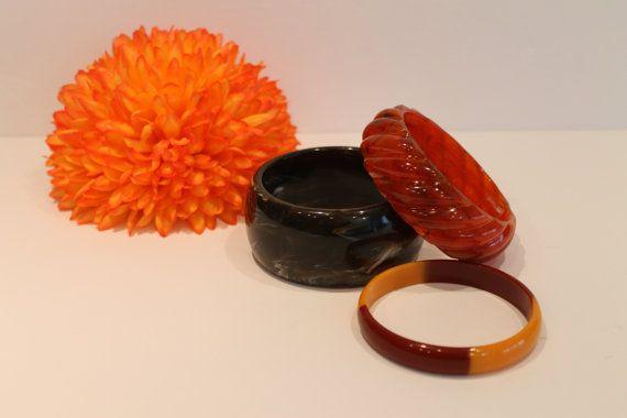 Vintage Plastic Bangles  Bracelets  Brown Bangles  by FunkieFrocks