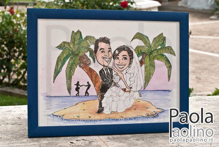 Un quadro con #caricatura di una coppia di #sposi su un'#isola #tropicale! Un #viaggio alle #Hawaii!  #caricaturista #matrimonio