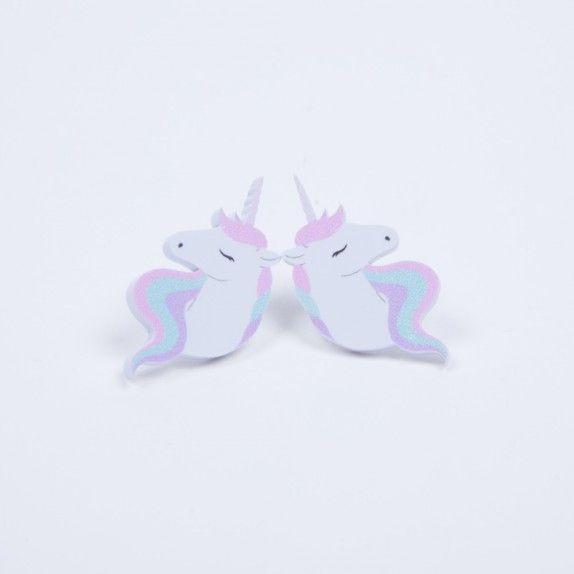 Boucles d'oreilles Licorne arc-en-ciel