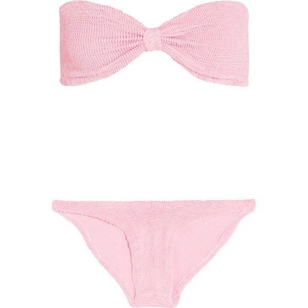 HUNZA G Jean seersucker bandeau bikini (£160) ❤ liked on Polyvore featuring swimwear, bikinis, baby pink, bandeau bikini, bandeau bikini tops, seersucker bikini, bandeau swimwear and seersucker swimwear