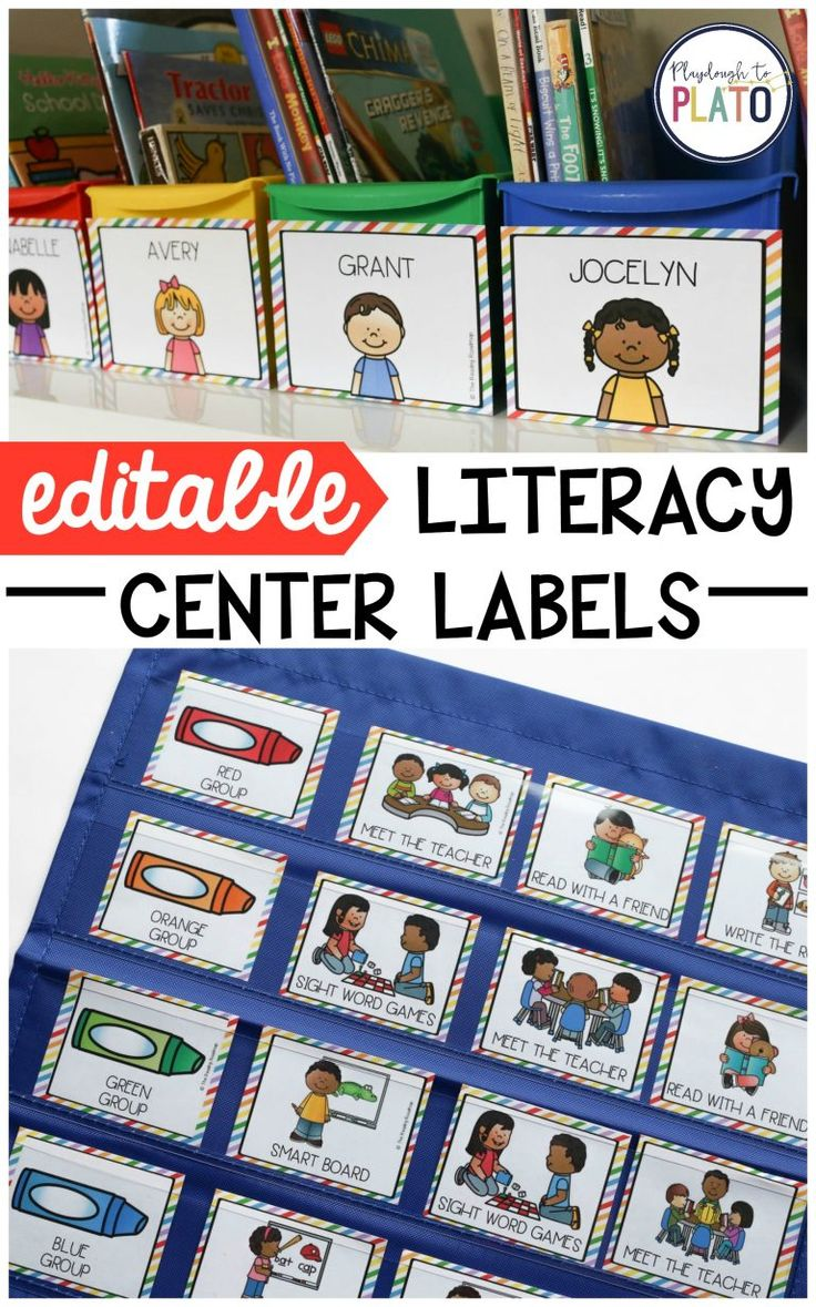 Editable Literacy Center Labels! Whether you use Daily Five, reading groups or something else entirely, these editable literacy center labels make it *so easy* to customize a station rotation that's a perfect fit for your classroom. A brilliant organizing hack for teachers! #literacycenter #teachingreading #playdoughtoplato