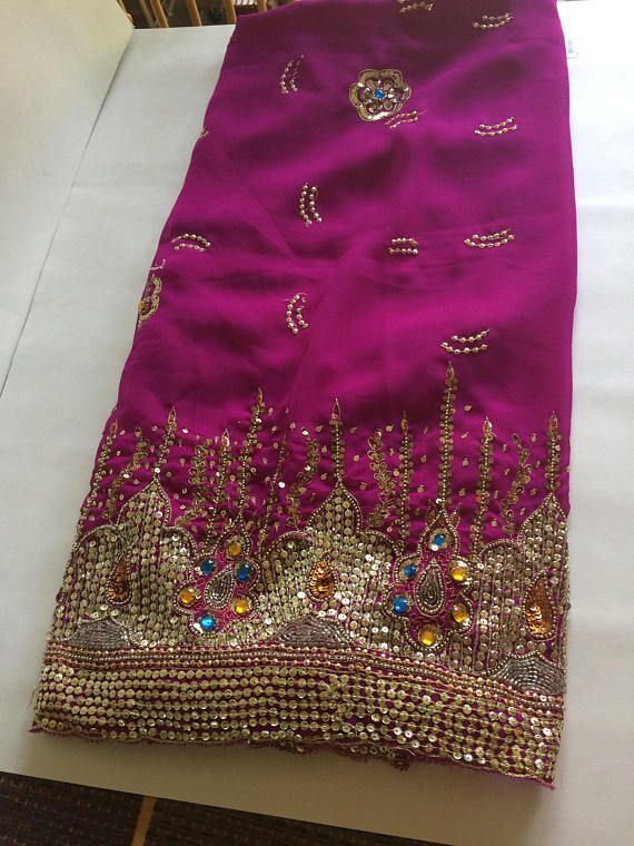 Vintage Fuschia Pink Chiffon Sheer Sari Sequin and Stone
