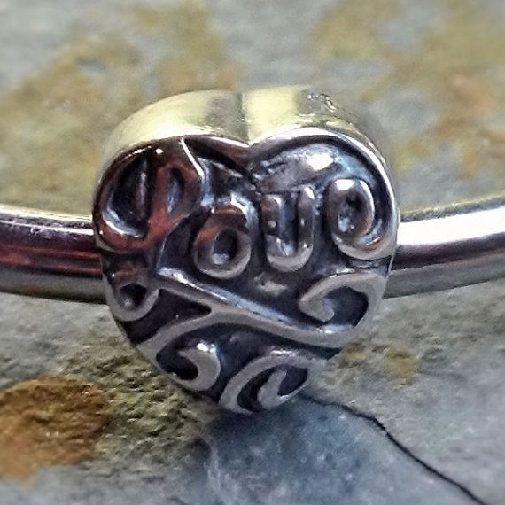 Antique 925 sterling silver heart love charm by Emmalishop