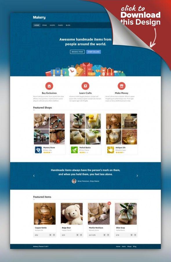Makery - Marketplace WordPress Theme authors, commissions, etsy