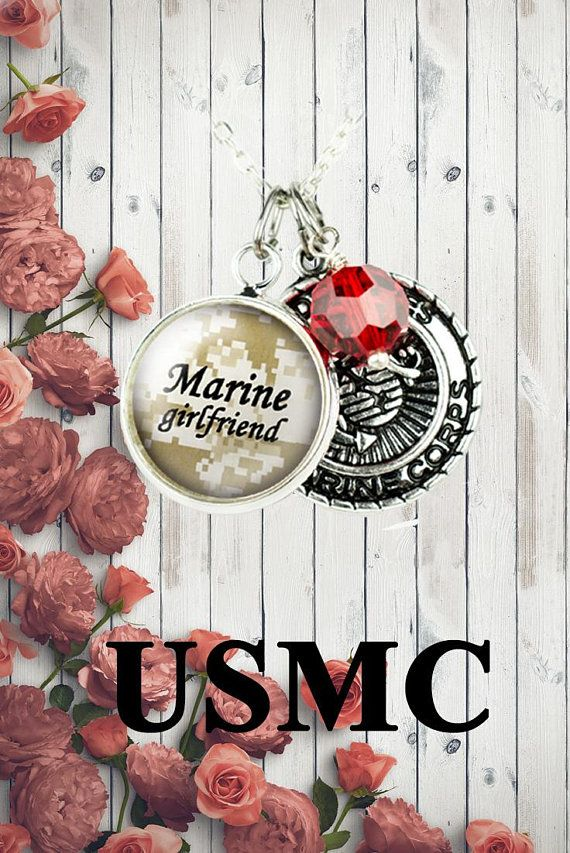 Marine Girlfriend Necklace, USMC gift for her, Military Jewelry #militarygirlfriend #marinegirlfriend #usmcgirlfriend #militarygift #marinelife