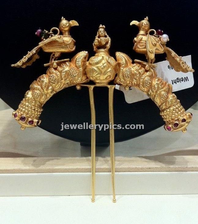 Gold hair pin juda ambada design - Latest Jewellery Designs
