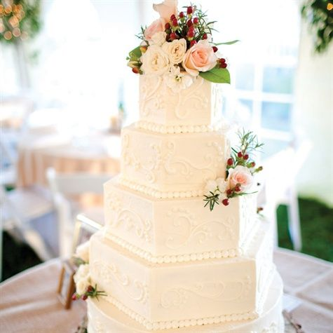 Hexagonal shape makes scrolling this cake a little easier!