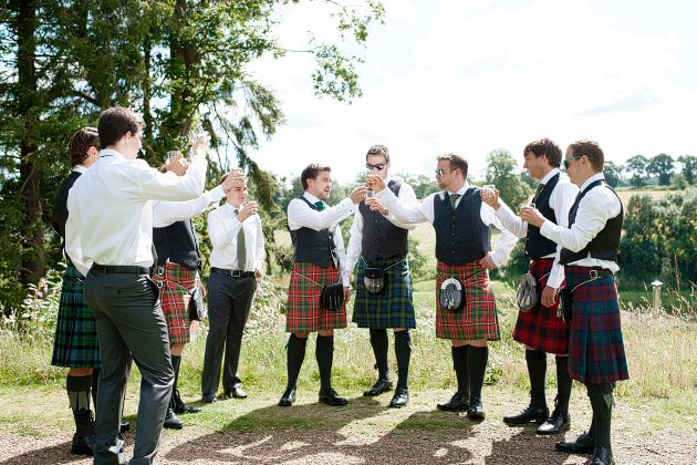 groom and ushers in wedding kilts Scotland