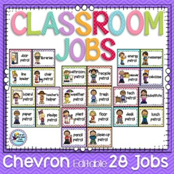There are 28 chevron themed classroom job clip chart cards plus 28 cards with clipart and editable text boxes.