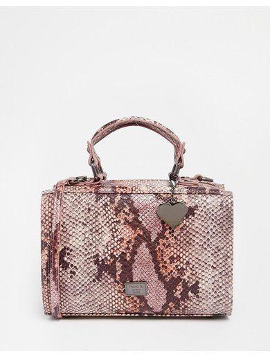 Marc B Mini May Box Bag in Pink Iridescent Snake - Pink