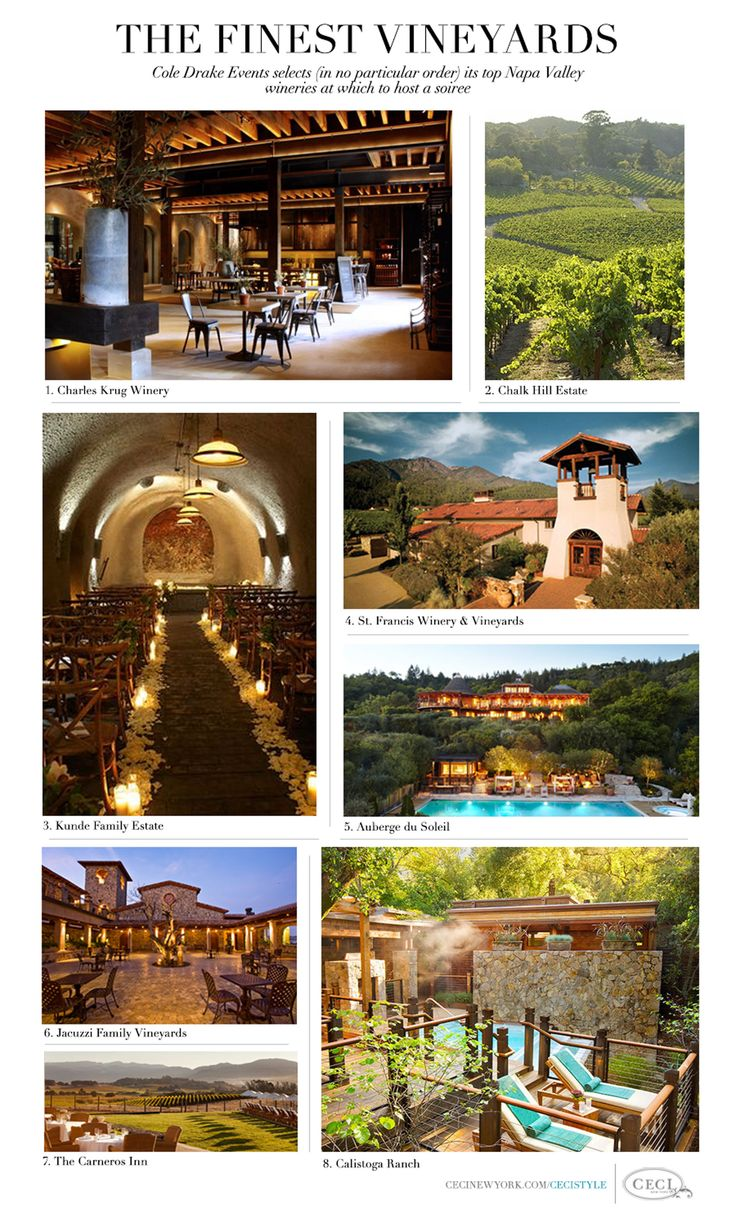 The Finest Vineyards - Cole Drake Events selects (in no particular order) its top Napa Valley wineries at which to host a soiree #charleskrugwinery #chalkhillestate #kundefamilyestate #stfranciswineryvineyards #aubergedusoleil #jacuzzifamilyvineyards #thecarnerosinn #calistogaranch #coledrake #event #planning