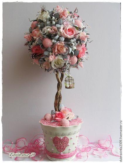 """Топиарии ручной работы. Ярмарка Мастеров - ручная работа. Купить Топиарий """"Нежность роз"""".. Handmade. Розовый, украшение для интерьера, фоамиран"""