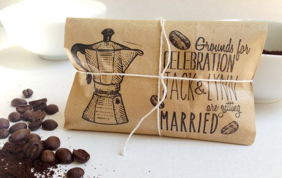 Kitchen Bridal Shower Favors. Engagement Party Favors. Freshly roasted coffee-Grounds for celebration via Etsy