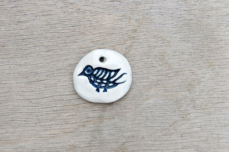 Ceramic pendant, glazed pendant, porcelain pendant, finch necklace, bird pendant, ceramic finch by BlackRabbitCeramics on Etsy