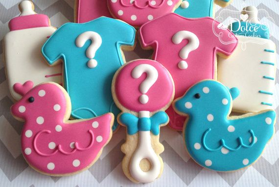 One Dozen (12) He or She? Gender Reveal Baby Shower Decorated Sugar Cookies