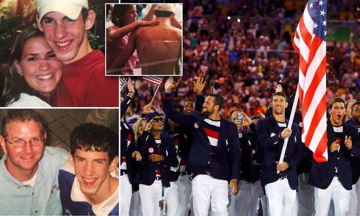 The photos (inset), taken from 2000 to 2016, show Michael Phelps aged 15 to 31. He carried the Stars And Stripes as he led the American team on Friday during the opening of the Rio Olympics (pictured).