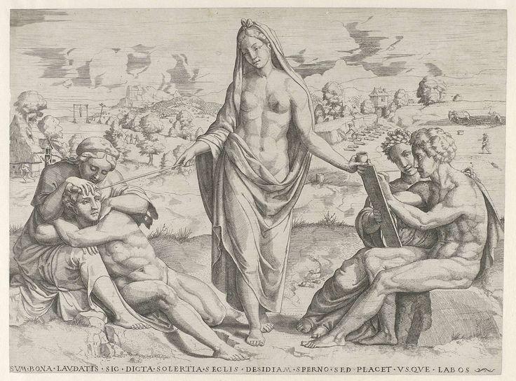 Het Vernuft beloont de vlijt en bestraft de luiheid, attributed to Cornelis Bos, c. 1540 - before 1544