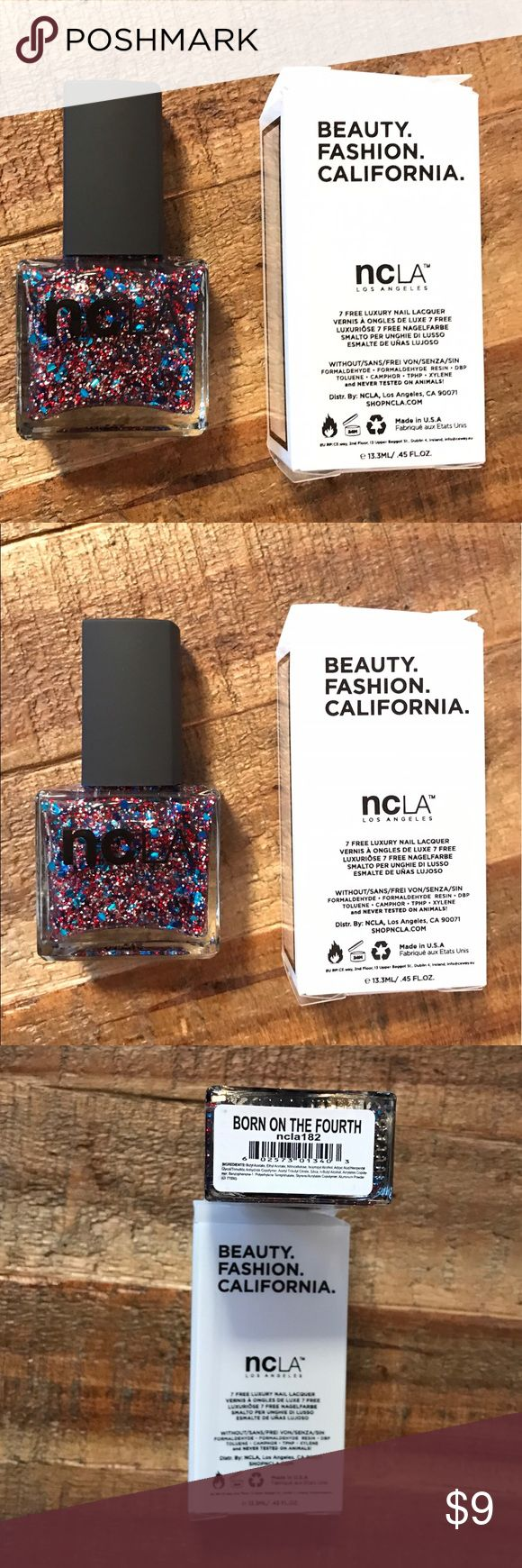 New NCLA Nail Lacquer- Born This Way Brand new in box, unopened! Retails for $18 NCLA Los Angeles Luxury Nail Lacquer in Born on the 4th Full size! 7 Free! Perfect for Independence Day - From smoke free home Bundle for discounts! Offers ok:) - #ncla #nclalosangeles #nclanaillacquer #naillacquer #nailpolish #polish #new #nwt #7free #7freecosmetics #makeup #nailcare ##manicure #luxurypolish #nailcolor #iso #isoncla Sephora Makeup