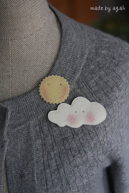 The Sun & A Cloud Brooch by made by agah, via Flickr
