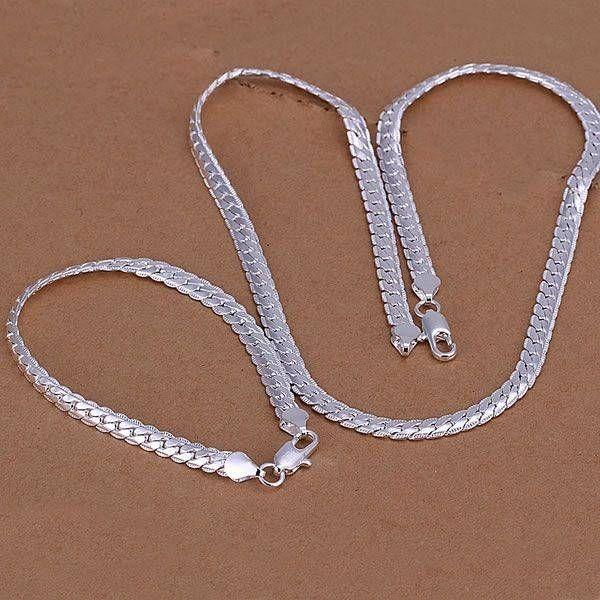 Armband met ketting in een set sterling zilver met hartjes motief