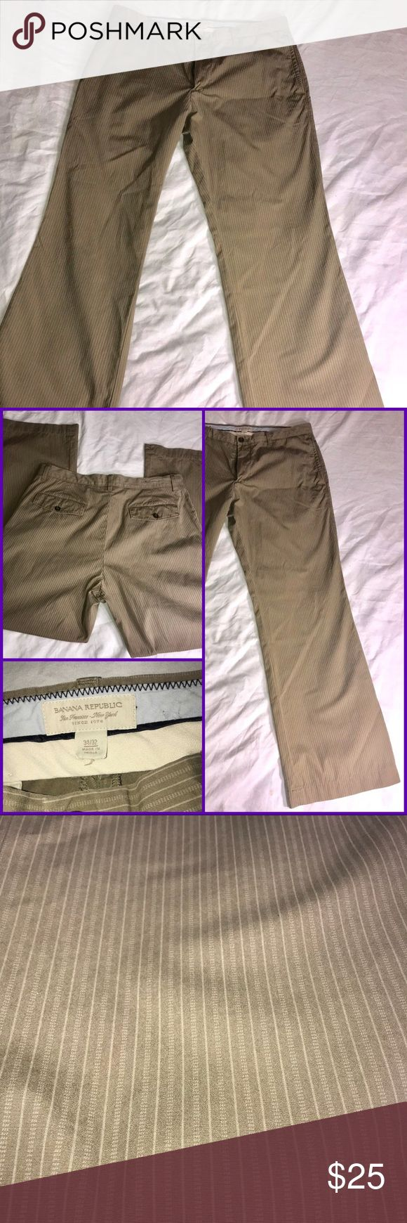 Banana Republic Mens 34x32 Pants Khaki Slacks 100% Cotton Light Brown Striped Career Pants   Please see pictures for measurements and details.   Fast shipping! Banana Republic Pants Chinos & Khakis