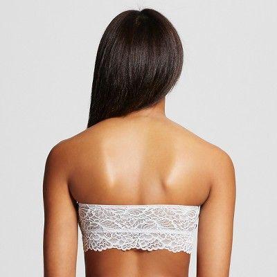 Women's Lace Bandeau Bra Silver Foil XL - Xhilaration