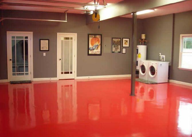 Red Floor Grey Walls Home Epoxy Basement Floor Paint