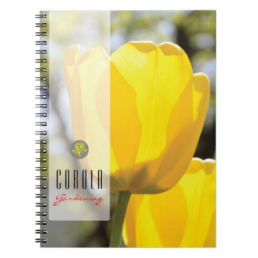 Customizable notebook with yellow tulips