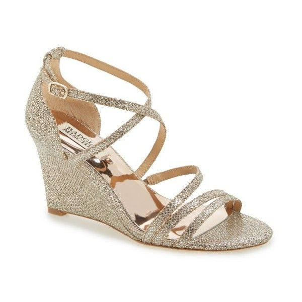 Women's Badgley Mischka Bonanza Strappy Wedge Sandal ($198) ❤ liked on Polyvore featuring shoes, sandals, gold glitter fabric, gold glitter shoes, open toe sandals, gold wedges shoes, strappy sandals and wedge heel sandals