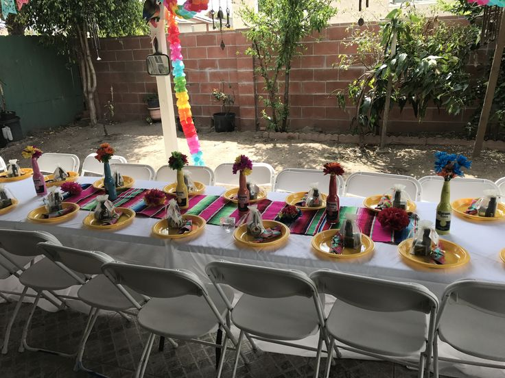 Bridal shower Fiesta theme  Mexican theme Table setup